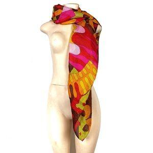 St.John 100% silk colorful monogram 44x43 scarf